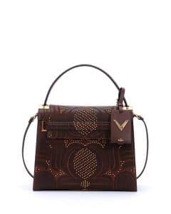 Valentino Brown Primitive My Rockstud Top Handle Medium Bag