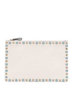 Valentino Ivory Rolling Rockstud Cabochon Leather Clutch Bag