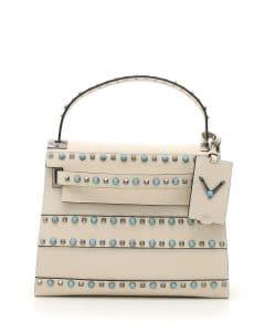 Valentino Ivory Studded My Rockstud Top Handle Small Bag