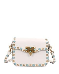 Valentino Ivory Studded Rockstud Small Messenger Bag