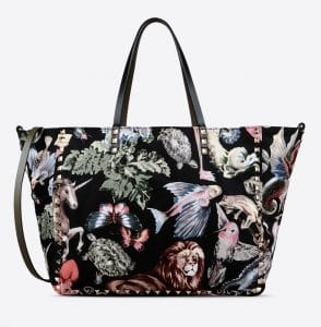 Valentino Multicolor Fantastic Animal/Camouflage Print Rockstud Reversible Tote Bag