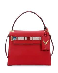 Valentino Red Beaded My Rockstud Top Handle Medium Bag