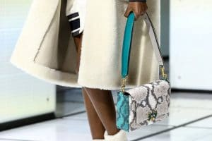 Anya Hindmarch Beige/Turquoise Pixelated Python Flap Bag - Fall 2016