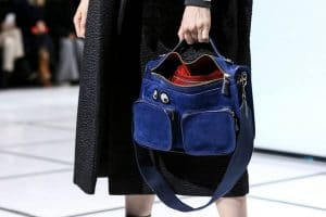 Anya Hindmarch Blue Suede Satchel Bag - Fall 2016