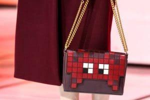 Anya Hindmarch Burgundy Pixelated Flap Bag - Fall 2016