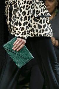 Bottega Veneta Green Crocodile Envelope Clutch Bag - Fall 2016