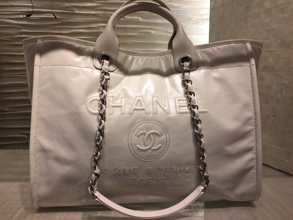 Chanel Beige Leather Deauville Tote Bag