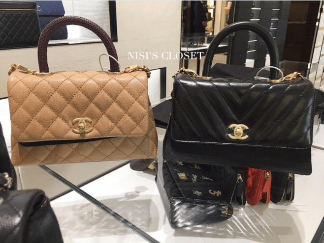 cc37a0c0fdef9d Chanel Beige and Black Mini Coco Handle Bags. IG: nisiscloset2