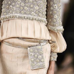 Chanel Beige/Silver Floral Embellished Belt Bag