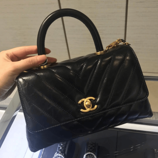 93e1c8bdaaff Chanel Black Chevron Mini Coco Handle Bag. IG  christine authentiqbags