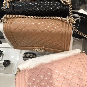 Chanel Black/Dark Beige/Light Pink Iridescent Calfskin Boy Bags