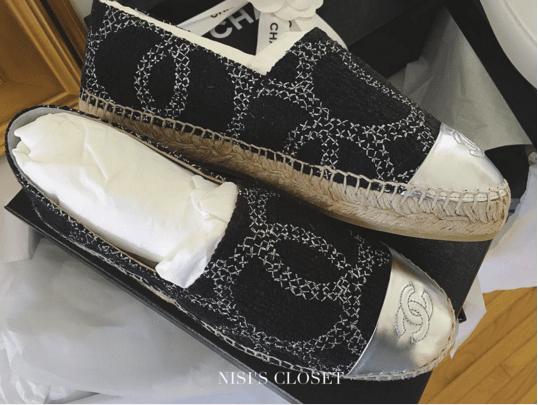 Chanel Black/Silver Tweed:Leather Espadrilles