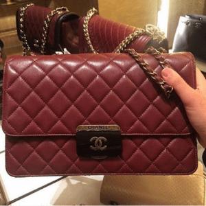 Chanel Burgundy Beauty Lock Large Flap Bag 2