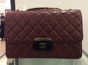 Chanel Burgundy Beauty Lock Large Flap Bag