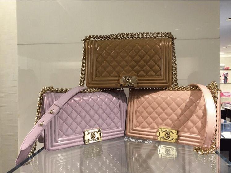 70d821b375c Chanel Dark Beige/Light Purple/Light Pink Iridescent Calfskin Boy Bags. IG:  shopper_doll