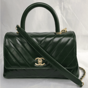 Chanel Green Chevron Mini Coco Handle Bag