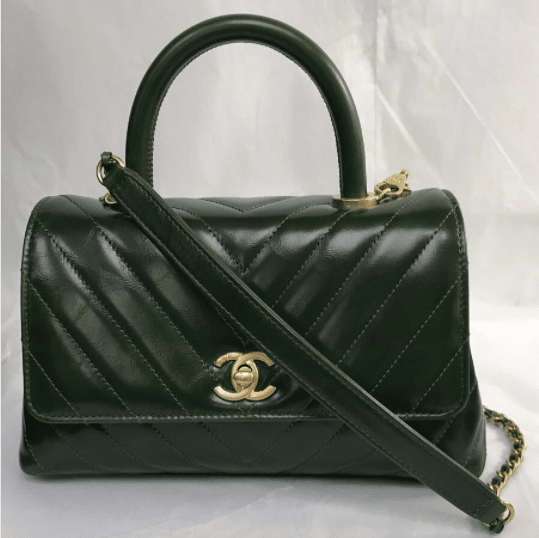 ecc00829a808 Chanel Green Chevron Mini Coco Handle Bag. IG: kensluxury