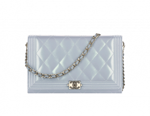 Chanel Light Blue Iridescent Calfskin Boy Wallet On Chain Bag