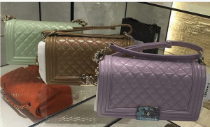 Chanel Light Green/Dark Beige/Light Purple Iridescent Calfskin Boy Bags