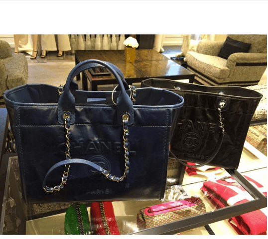 888c272eebb5 Chanel Navy Large and Black Small Leather Deauville Tote Bag. IG   lux brands boutique