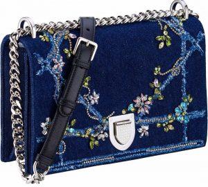 Dior Blue Embellished Denim Diorama Flap Bag