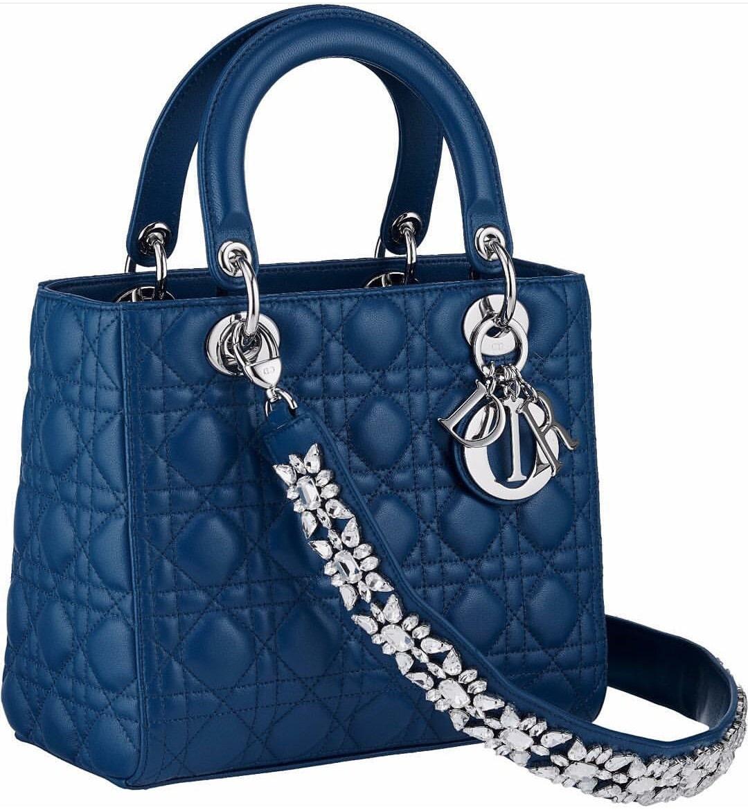 Dior Blue Lady Bag With Embellished Strap