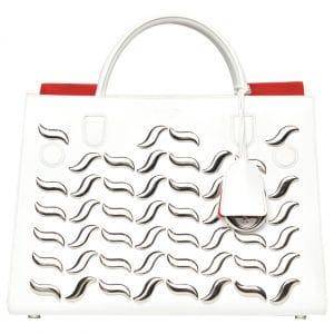 Dior White Embellished Diorever Tote Bag