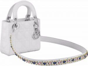 Dior White Lady Dior Bag with Embellished Strap