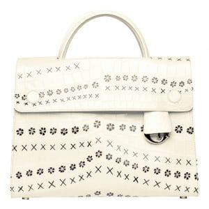 Dior White Printed Crocodile Diorever Tote Bag