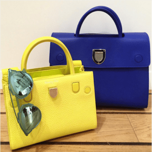 Dior Yellow and Blue Diorever Tote Bags
