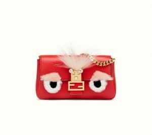 Fendi Red Bag Bug Micro Baguette Bag