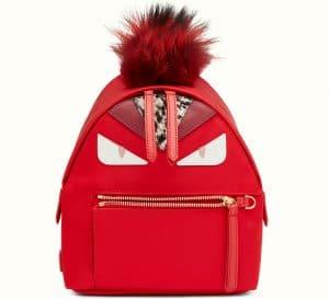 Fendi Soft Red Monster Mini Backpack Bag