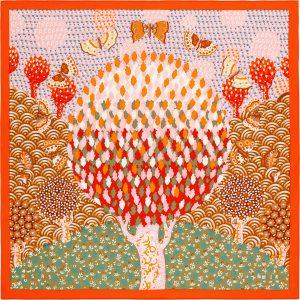 Hermes Les Ailes Pleines de Joie Silk Twill Scarf 70