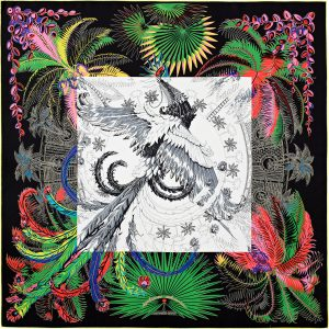 Hermes Mythiques Phoenix Coloriages Silk Twill Scarf 90