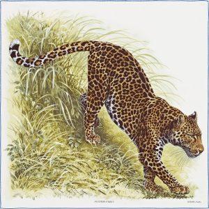 Hermes Panthera Pardus Silk Twill Scarf 90
