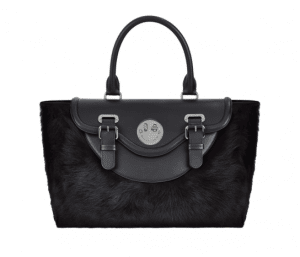 Hill and Friends Liquorice Black Shearling Happy Satchel Bag