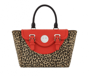 Hill and Friends Red/Natural Leopard Happy Satchel Bag