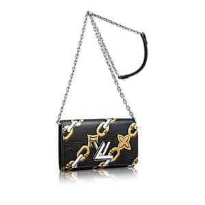 Louis Vuitton Black Chain Flower Epi Twist Chain Wallet Bag
