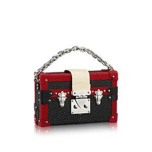 Louis Vuitton Black/Red Galuchat Petite Malle Bag