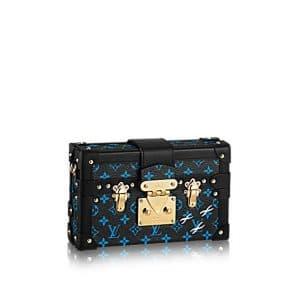 Louis Vuitton Bleu/Noir Monogram Canvas Petite Malle Bag