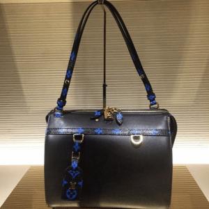 Louis Vuitton Noir with Noir and Bleu Monogram Trim Speedy Amazon MM Bag 2