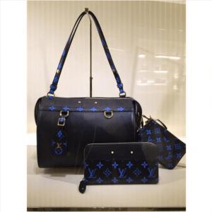 Louis Vuitton Noir/Bleu Monogram Canvas Speedy Amazon MM Bag / Zippy Wallet / Pochette Accessoires