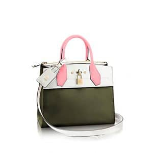 Louis Vuitton Rose Kaki City Steamer PM Bag