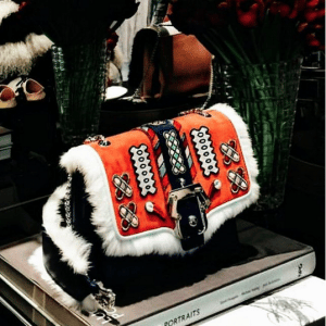 Paula Cademartori Black/Orange Fur/Leather Embroidered Shoulder Bag - Fall 2016