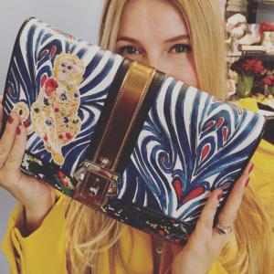 Paula Cademartori Blue Multicolor Printed Clutch Bag - Fall 2016