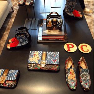 Paula Cademartori Blue Printed Clutch Bags and Shoes - Fall 2016