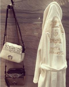 Paula Cademartori White and Black Printed Shoulder Bags - Fall 2016
