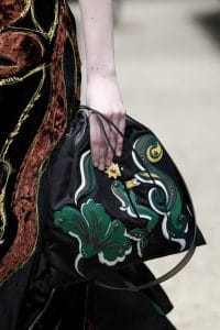 Prada Black/Green with Appliques Drawstring Bag - Fall 2016