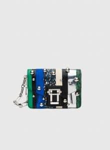 Proenza Schouler Aloe/Electic Blue Exotic Stripe with Ball Detail Hava Clutch Bag