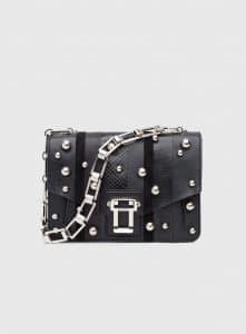 Proenza Schouler Black Exotic Stripe with Ball Detail Hava Chain Shoulder Bag